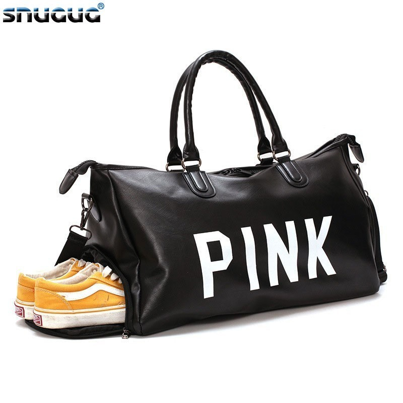 SNUGUG PU Leather Mens Sports Shoulder Bag Travel Fashion Big Crossbody Bags For Women Waterproof Ladies Gym Bags For Fitness