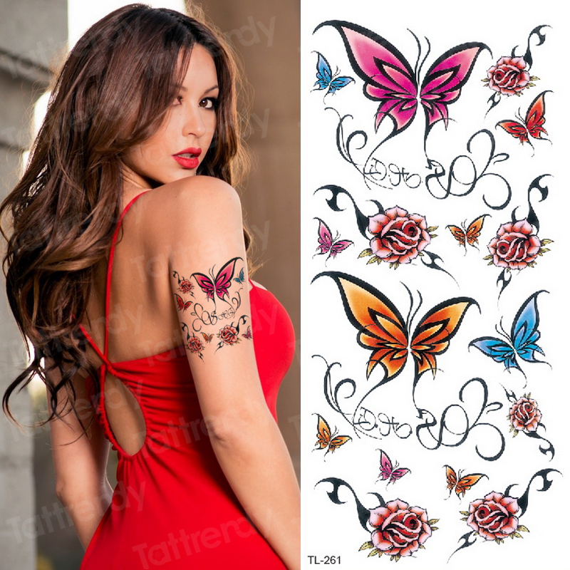 Temporary Tattoo Sticker Flower Butterfly Temporary Body Tattoo Waterproof Sexy Tatoo For Woman Tattoo Rose Flowers Sheet Decal