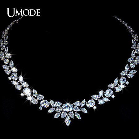 UMODE Gorgeous White Gold Color Poem of Spring Top quality Cubic Zirconia Bridal Jewelry Necklace Bijoux Accessories UN0027
