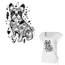 Bulldog patches Iron On Heat Transfer Paper Print On T-shirt Diy A-level Washable Dog Patch Applique For Clothes Accessory Y-035 canada maple leaf iron on a level patches for diy t shirt bags accessory decoration applique badge sticker patches washable