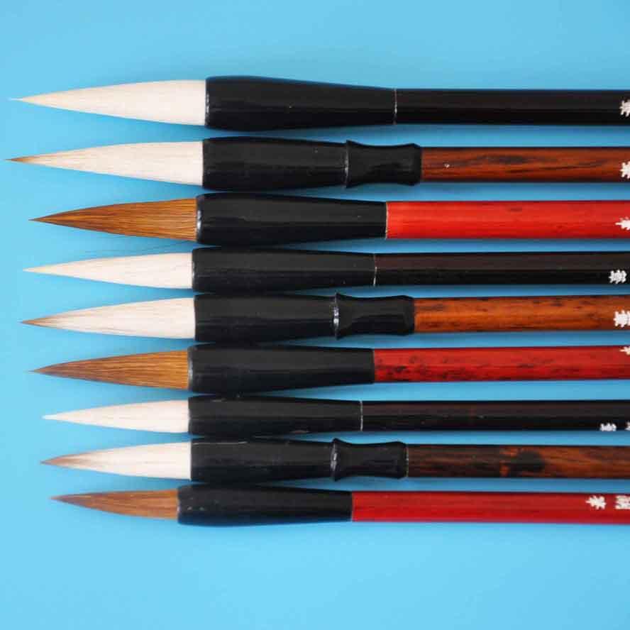 9 pcs/set Chinese Calligraphy Brush wolf soft hair Drawing Brush WaterColor Brush Pen Art Supply School  Office Stationary Gift italic nib art fountain pen arabic calligraphy black pen line width 1 1mm to 3 0mm