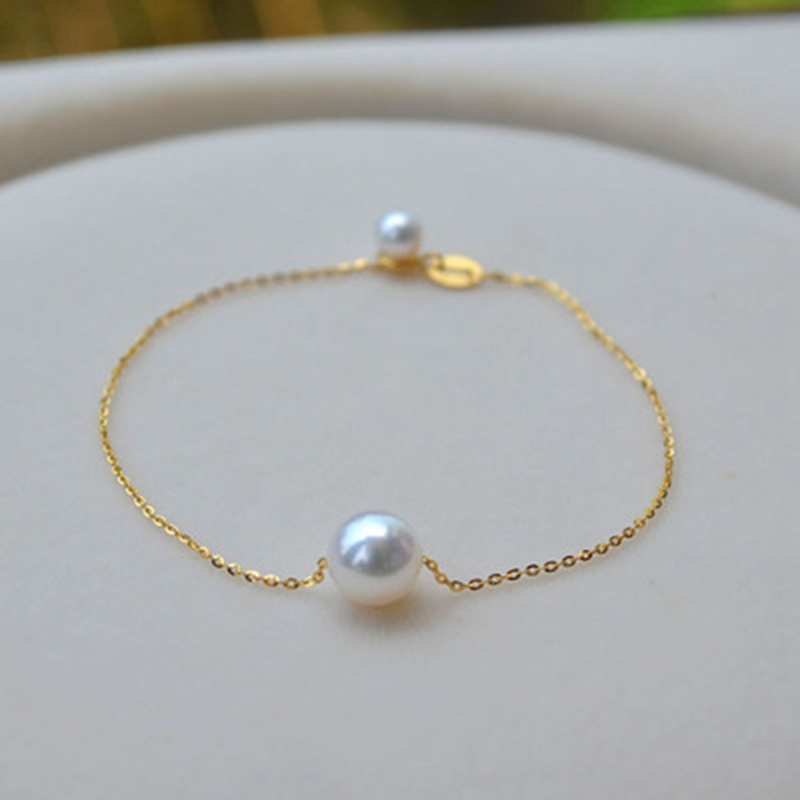 Sinya 18k gold Chain Bracelets Anklets with 7 5 8mm natural round pearl for women girl
