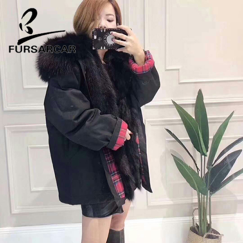 Raton En 2018 Parka Vraie Fourrure Col Blanc Renard noir Hiver De Avec Doublure Fursarcar Laveur Mode Luxe Femmes Femelle Nouvelle q17SZXx