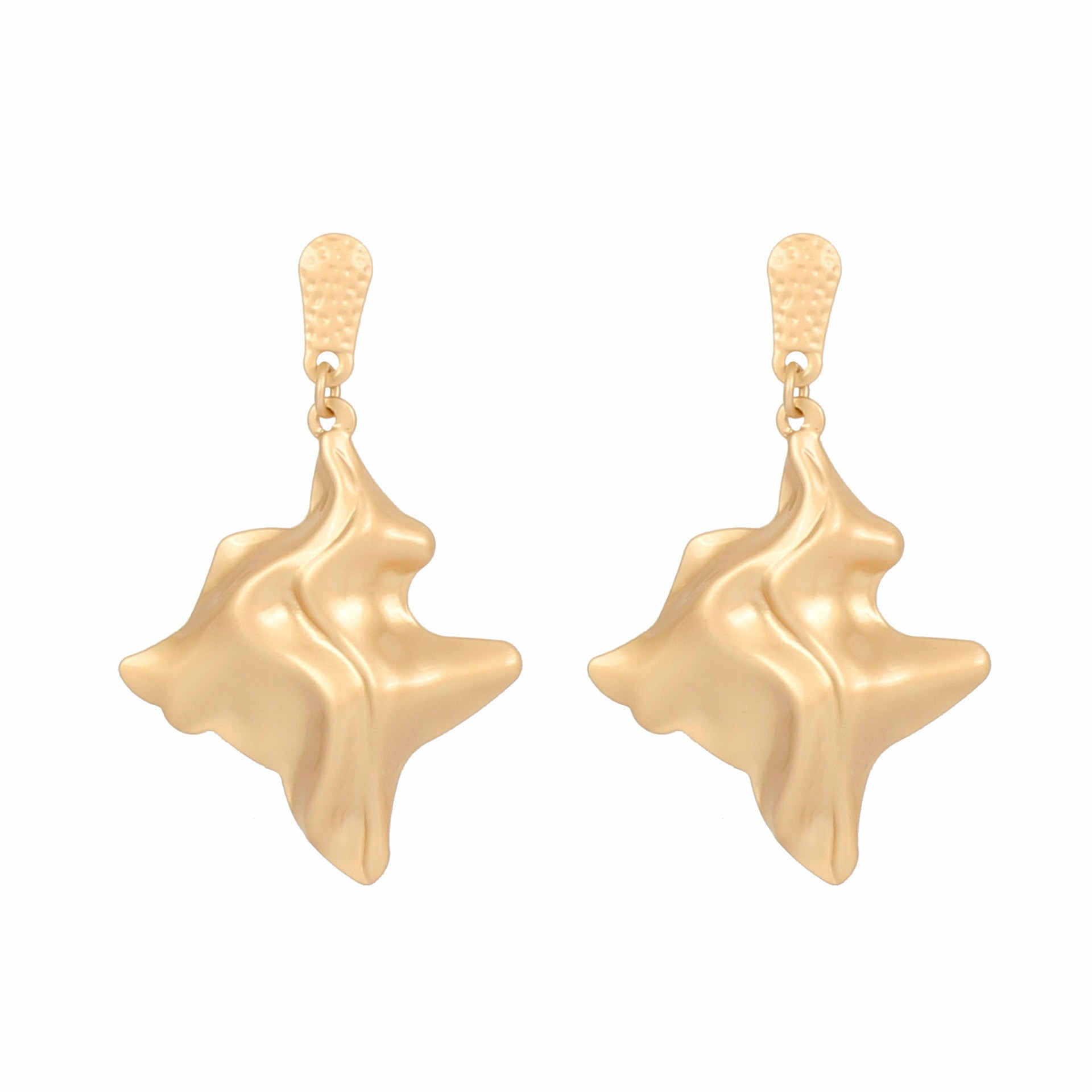 EK244 Exaggerated Brand Gold Color Irregular Folded Shiny Metal Big Drop Earrings Women Punk Star Earrings Rock Party Jewelry