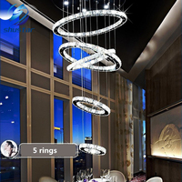 5 circle ring Modern minimalist penthouse floor living room led Ceiling Lights creative villa long circular staircase lights