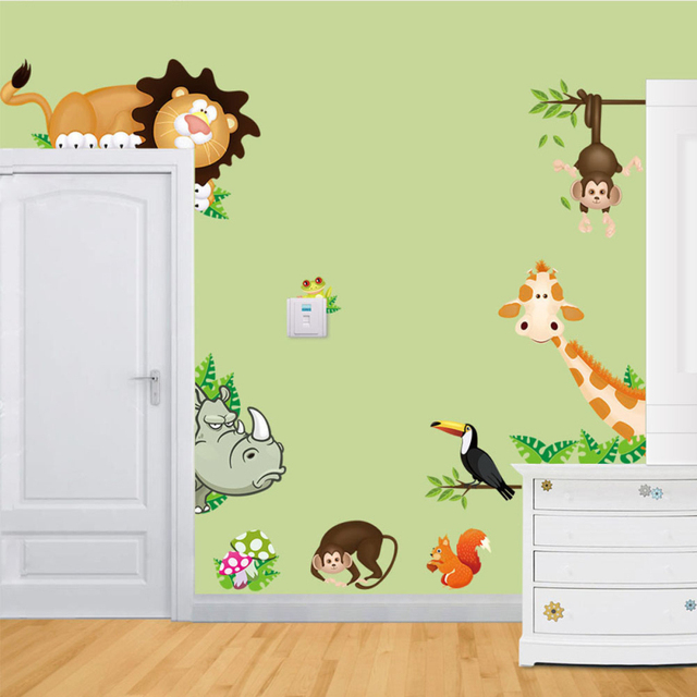 Cute Jungle Wild Animals Wall Stickers Home Decoration For Kids Room ...