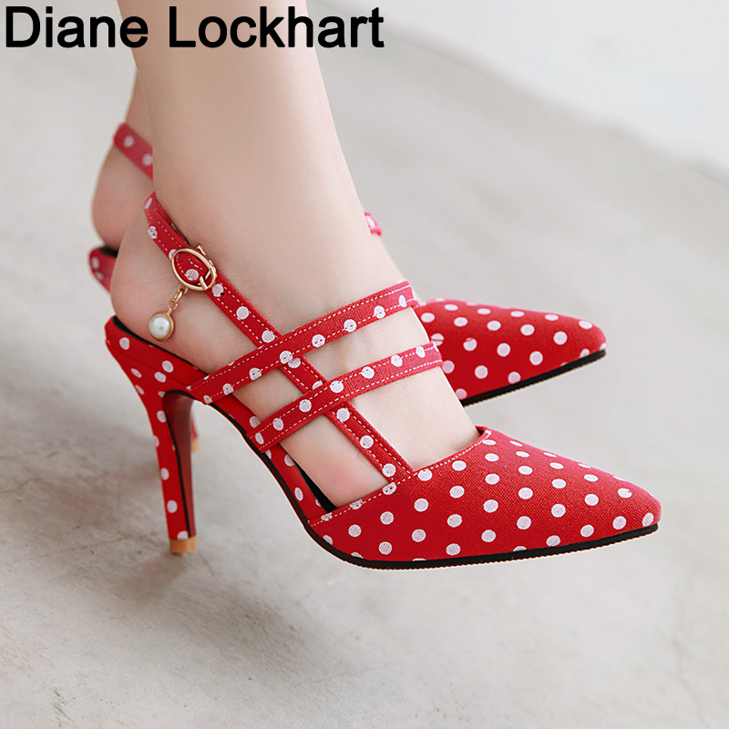 Shoes Woman Polka Dot Pointed Toe Sandals Slip On High Heel Slides Buckle Pump 2019 Summer Zapatos Mujer Black White Mixed Color