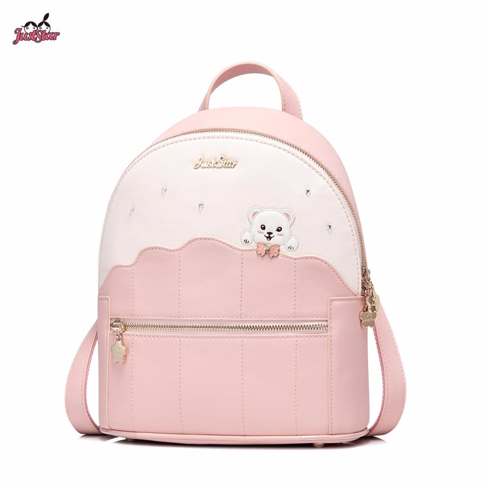 New Just Star Brand Design Adorable Bear PU Leather Women's Backpack Ladies Girls Shoulders Bags For Travel For School 2017 new brand ballet girl embroidery drawstring pu women leather ladies backpack shoulders school travel bags student daypack