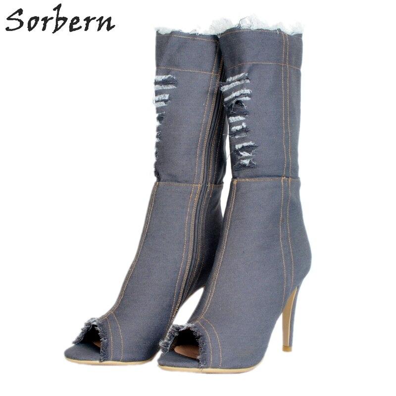 Sorbern Fashion Denim Ankle Boots For Women Peep Toe High Heels Size 10 Women Shoes Luxury Shoes Women Trendy Heels 2018Sorbern Fashion Denim Ankle Boots For Women Peep Toe High Heels Size 10 Women Shoes Luxury Shoes Women Trendy Heels 2018