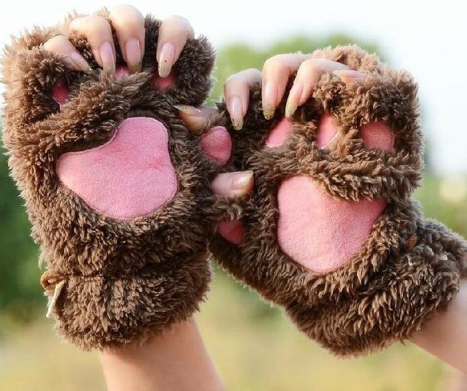 Fashion Winter Warmer Kids Meisje Kat Vingerloze Hand Leuke Kat Claw Paw Pluche Handschoenen Mitten Soft Volledige Vinger Handschoenen Aantrekkelijk Uiterlijk