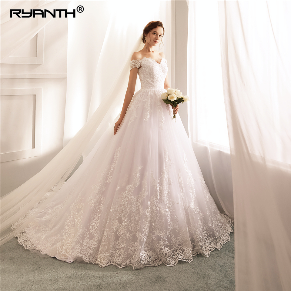 Hot Sale Off The Shoulder Lace Wedding Dress Cheap Vestido De Noiva Bridal Gowns Luxury Ball