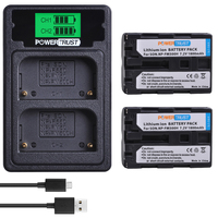 Powertrust 2PCS NP FM500H Camera Battery+LCD USB Dual Charger with Type C Port for Sony A200 A200K A200W A300 A350 A450 a580