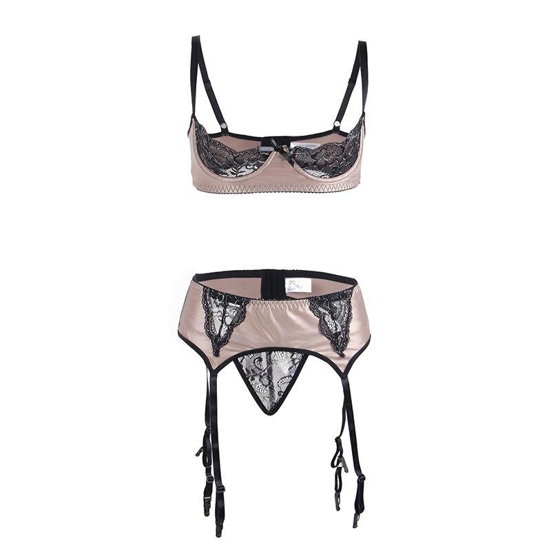 6c843588e76 Comeonlover Plus Size Faux Leather Open Cup Bra Set Open Crotch Lingerie  Underwear with Garter Belt RT80313 Lace Lingerie Set