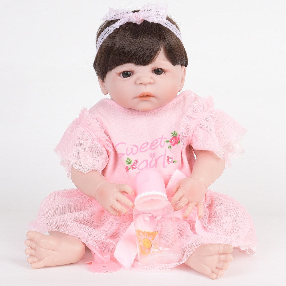 22 Inch Soft Full Silicone Reborn Baby Lifelike Newborn Princess Girl Doll for Children Toy Xmas Birthday New Year Gift 22 inch 55 cm silicone baby reborn dolls lifelike doll newborn toy girl gift for children birthday xmas