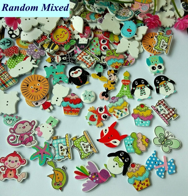 200pcs/lot Random Mixed new Pattern 2 Holes Wooden Buttons Painting Sewing Buttons 15-38mm Flatback Scrapbooking botoes