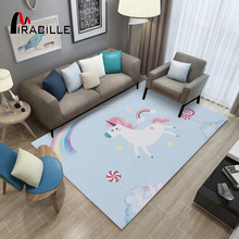 Miracille Cartoon Unicorn Rectangle Carpet Non Skid Washable Children Rugs For Playroom Bedroom Large Area Rug Home Decoration