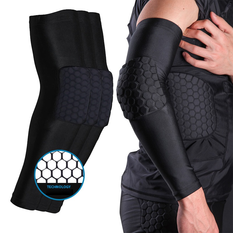 Hot 1 PC Honeycomb Elbow Support Training Brace Sportswear Protective Gear Basketball Volleyball Elastic Breathable Arm Sleeve