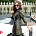 2016 autumn new Splice medium-long leather clothing women's fashion slim outerwear jacket Female