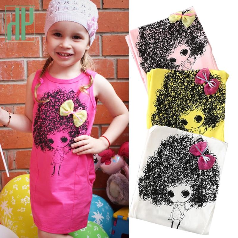 4-12 år barnklänningar för tjejer Sommarprinsessan Kostym tecknad Sleeveless Dress Bow tonåringar klär barnkläder HH