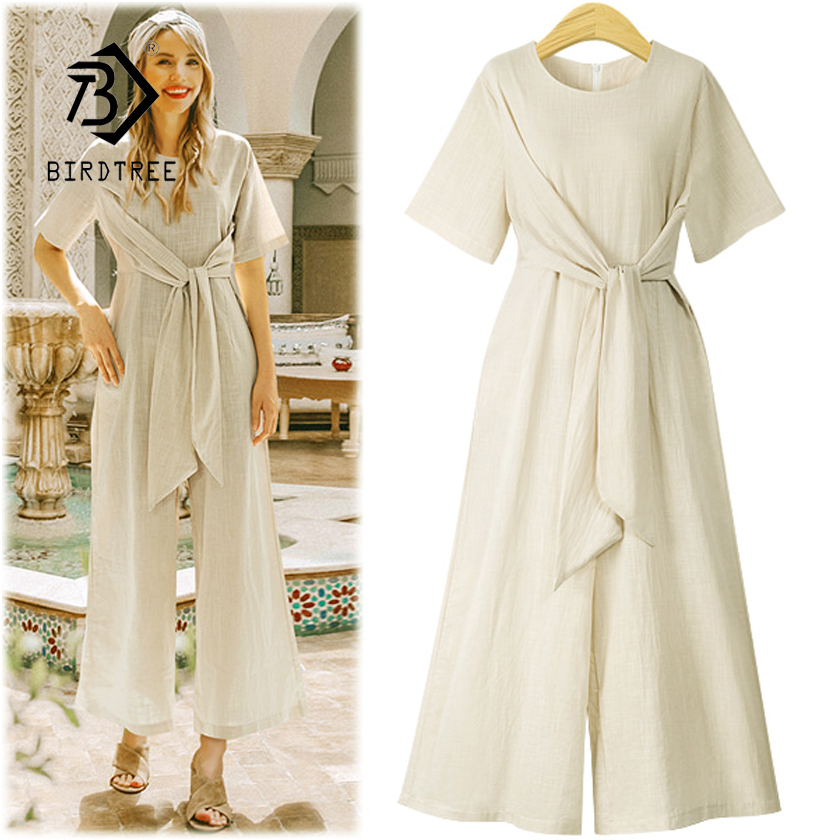 New Arrival Women Cotton Linen High Waist Lace Up Short Sleeve Jumpsuit Lady Wide Leg Pants Female 4XL Plus Size Hots S87304F