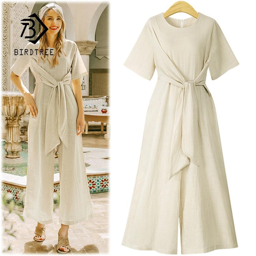 New Arrival Women Cotton Linen High Waist Lace Up Short Sleeve Jumpsuit Lady Wide Leg Pants Female 4XL Plus Size Hots S87304F