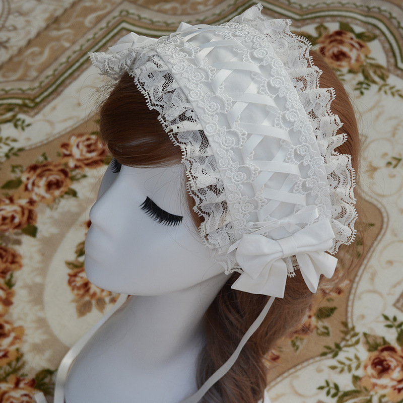 Sweet New Lolita Lace Headband Rosa / Azul / Blanco / Negro