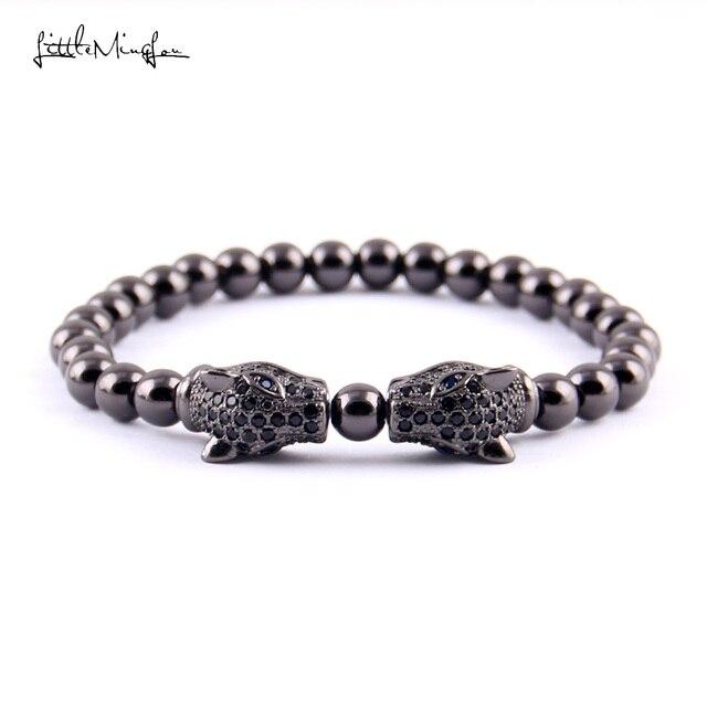 Little Minglou Luxury Cz Zircon Double Leopard Head Charm Men Bead Bracelet Copper Beads Bracelets Bangles
