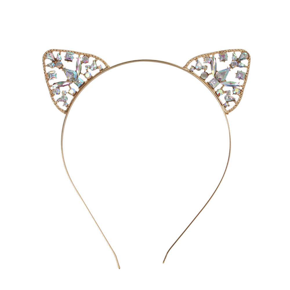 1 CÁI New Pha Lê Tai Mèo Tóc Hoop Headband Phụ Nữ Shiny Rhinestone Mèo Tai Tóc Ban Nhạc Costume Đảng Cosplay Headwear1PC New C