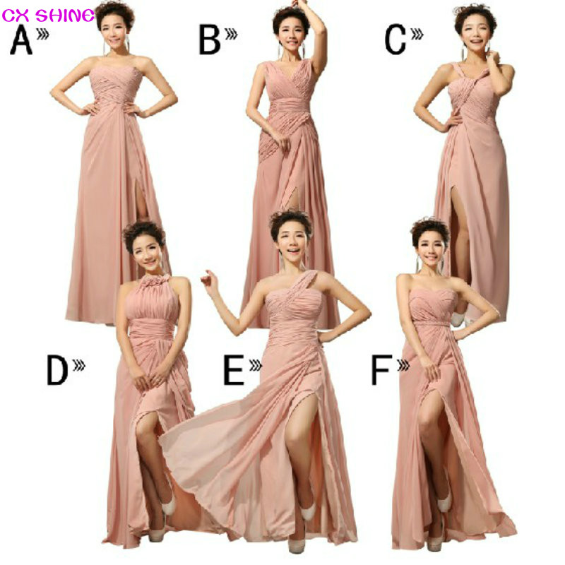 CX SHINE Chiffon Split long Bridesmaid Dresses Custom colors Mix style cheap wedding Prom Dress party