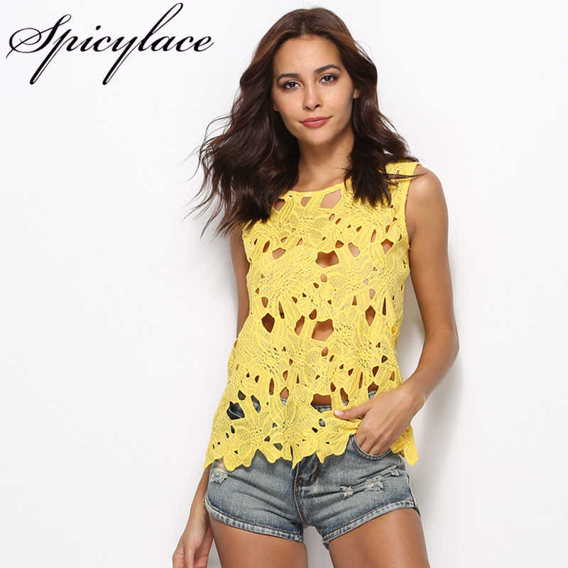 9e3130adf Detail Feedback Questions about Europen Style Crochet Knit Floral Yellow  Hollow Out Short Lace Vest Tank top Plus size Blouses Summer Tops For Women  2018 on ...