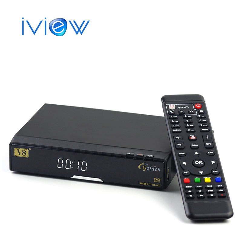 Free Shipping New V8 Golden DVB-S2+S2+C Youtube Powervu IPTV Satellite Receiver V8 Pro Combo DVB C Set top Box V8 Golden TV Box i box rs232 dvb s satellite smart sharing nagra 3 dongle black