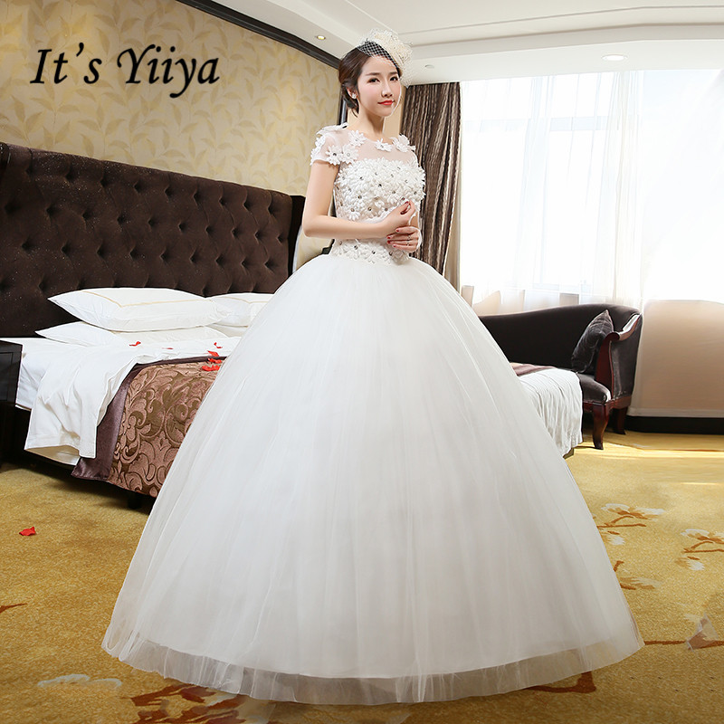 Free Shipping Vestidos De Novia Real Photo Cheap O-neck Plus Size Wedding Dresses White Lace Short Sleeves Bridal Frocks HS215