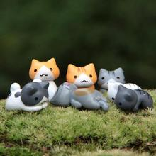 6pcs Japan Kawaii Cat Miniature Terrarium Figurines Ornaments For Home Decoration Creative Japanese Anime Pvc Figure Home Decor
