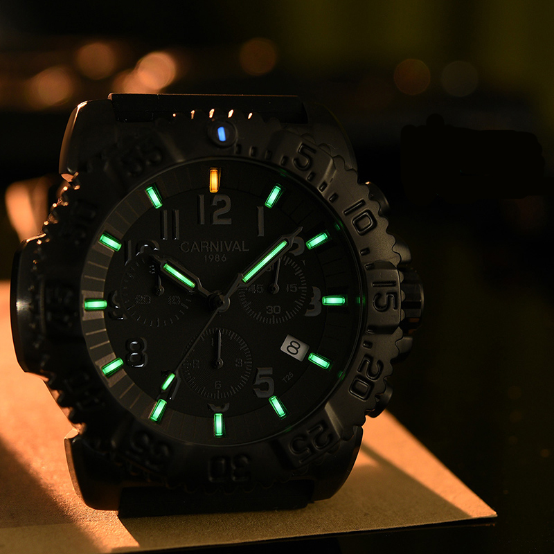 CARNIVAL Waterproof Shockproof Casual Sport Watches Tritium Luminous For Men Top Brand Luxury Military Man Clock Fashion Watch