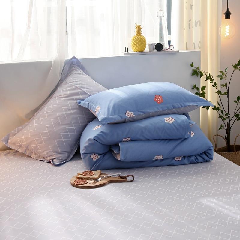 Slowdream Blue Duvet Cover Set Double Bedspread Pillowcases Gray Bed Sheet Comfort Bedding Set Bedclothes Decor Home Textiles in Bedding Sets from Home Garden