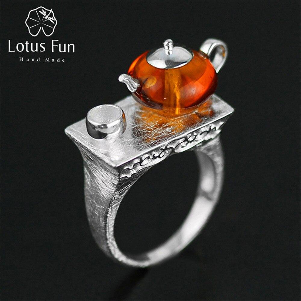 Lotus Fun réel 925 en argent Sterling naturel ambre Original fait à la main Bijoux fins Vintage anneau mignon théière anneaux pour les femmes Bijoux