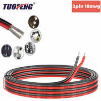 2pin Extension Cable Wire Cord 18awg Silicone Electrical Wire Black and Red  2 Conductor Parallel Wire line Soft and Flexible