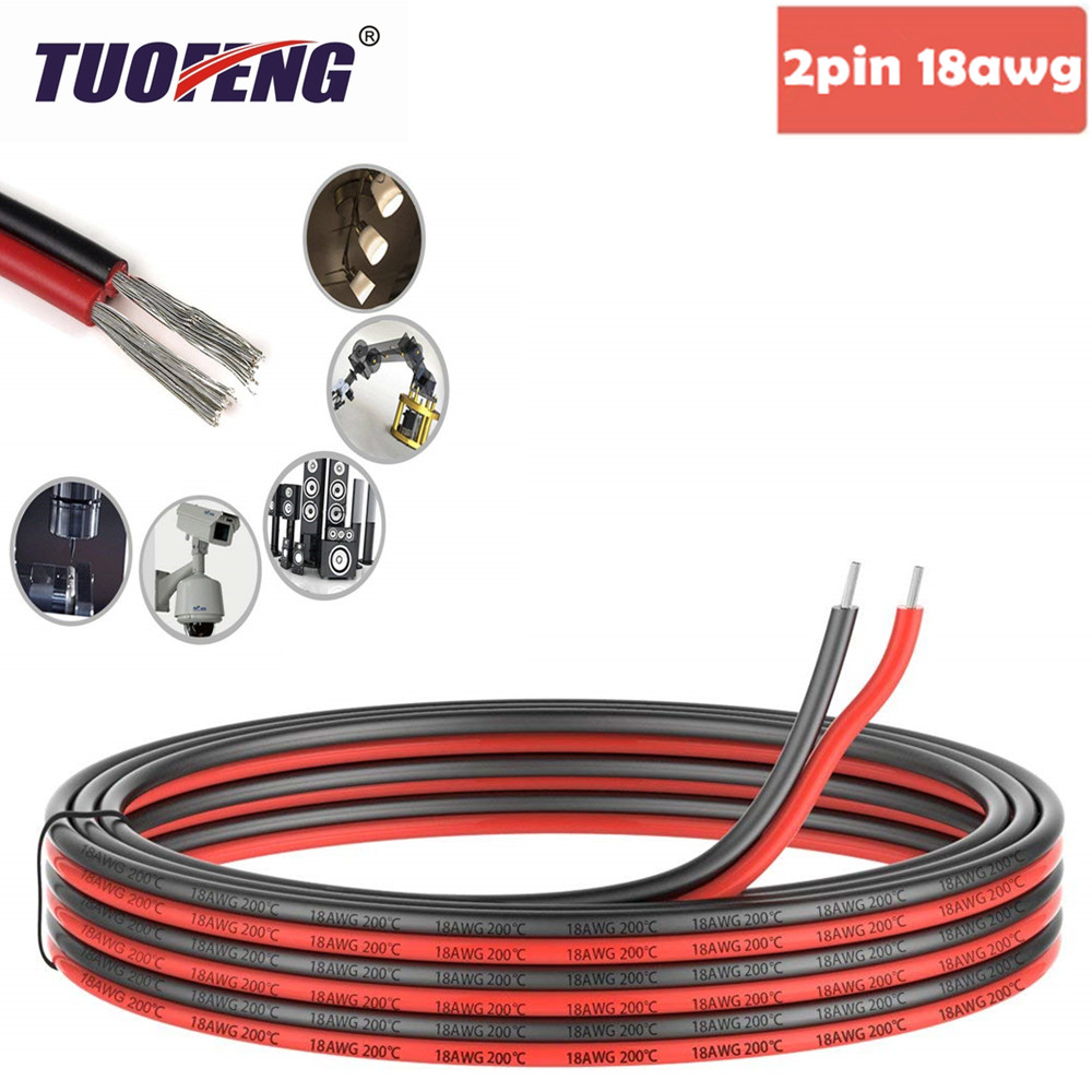 2pin Extension Cable Wire Cord 18awg Silicone Electrical Wire Black and Red 2 Conductor Parallel Wire