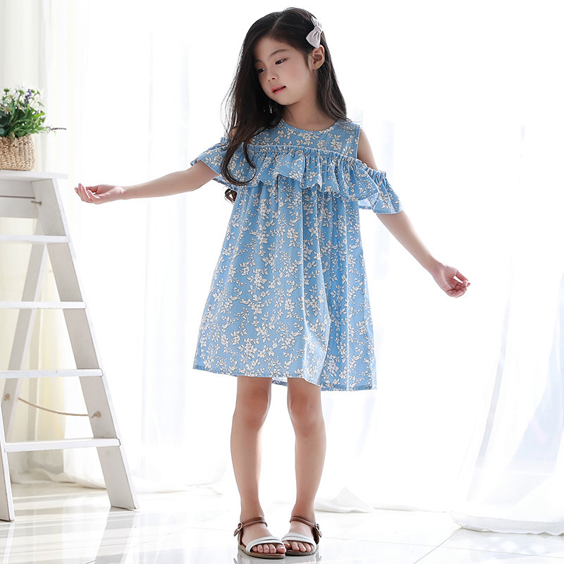 floral  little girl princess dress 2018 new with ruffles a line cotton blue big girl dress summer 10 12 8 6 7 14 years clothing ems dhl free shipping toddler little girl s 2017 princess ruffles layers sleeveless lace dress summer style suspender