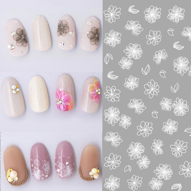 1 sheet White Lace Flowers Nail Sticker Butterfly 3D Stickers Decals ...