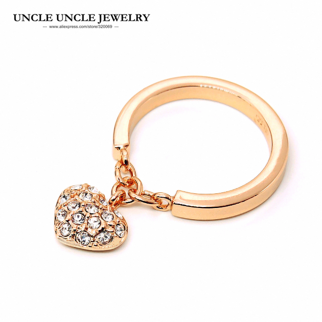 Rose Gold Color Rhinestones Inlays Heart-shape Pendant Design Exquisite Woman Fashion Ring Christmas Gifts exquisite rhinestoned floral shape ring for women
