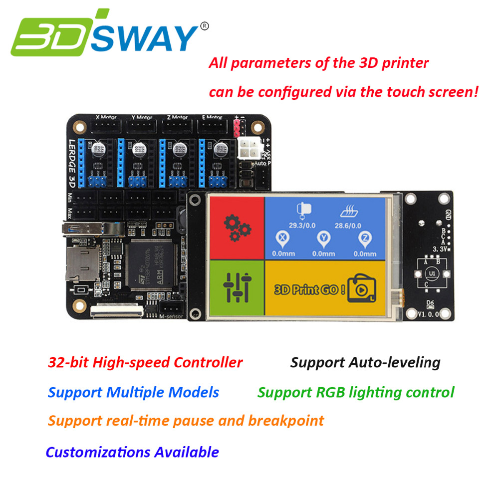 "3DSWAY 3D Printer Motherboard Lerdge Board with Thermistor ARM 32-bit Controller DIY Kit with 3.5"" TFT Touch Screen"