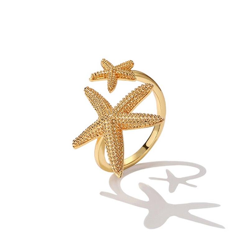 SRCOI новый дизайн, Двойные милые открытые кольца с морской звездой, золотого цвета, Пляжное регулируемое кольцо с морской звездой для женщин, ...