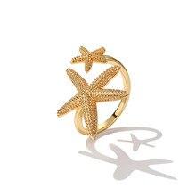 Srcoi novo design duplo bonito estrela do mar aberto anéis cor ouro liga praia estrela do mar ajustável dedo anel para presentes de aniversário feminino