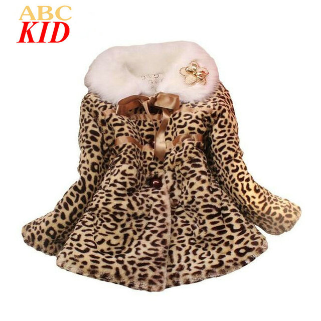 Winter Jackets Girls Fleece Warm Coat Kids Parka Moda Leopard Flower Outfits Girl Kids Faux Fur Coat Tops Jacket KD330