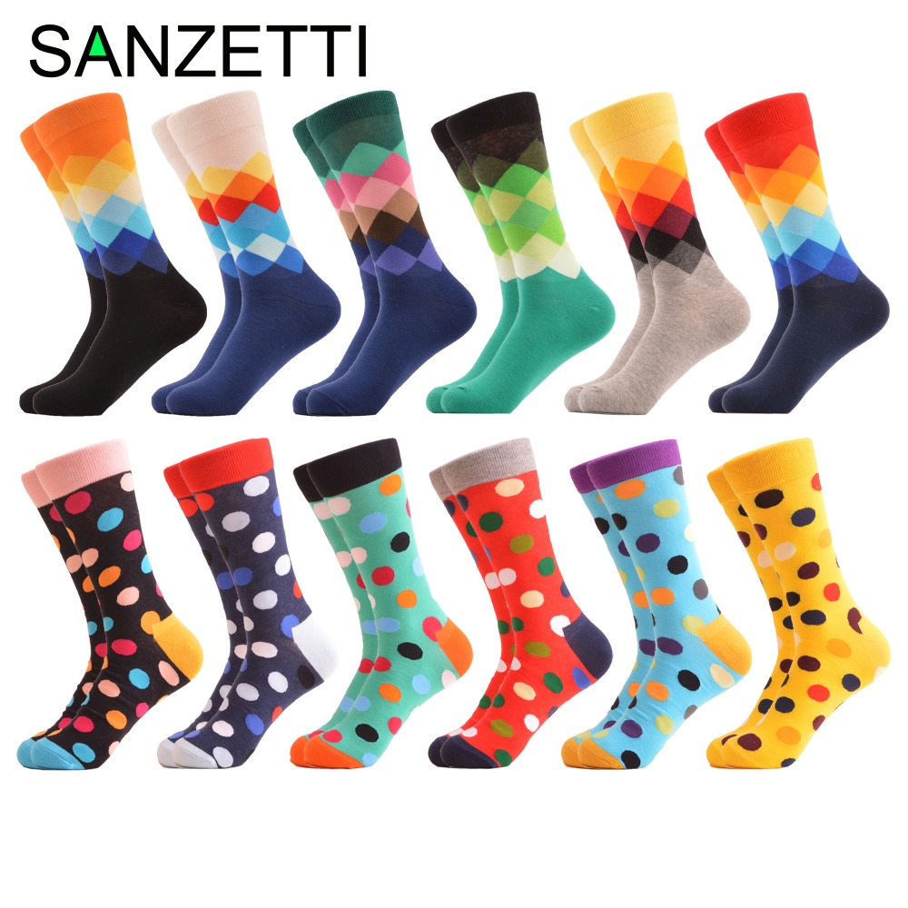 SANZETTI 12 Pairs/lot Hot Mens Combed Cotton Funny Dress Wedding Socks Dot Diamond Novelty Crew Colorful Socks Cool Sreetwear