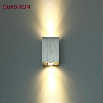 Moderne 2 w led wandlamp vierkante spot light aluminm AC110v-260v up down home decoratie licht voor slaapkamer/eetkamer kamer/toilet