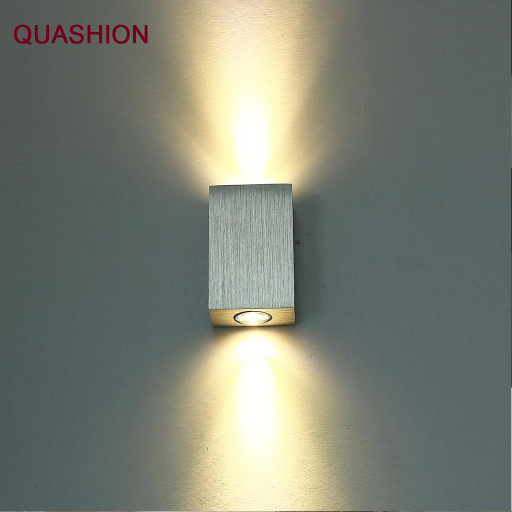 Modern 2W Led Wall Lamp Square Spot Light Aluminm AC110v-260v Up Down Home Decoration Light For Bedroom/dinning Room/restroom