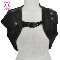 Retro Punk Black Floral Lace PU Leather Sleeveless Gothic Jacket Women Short Bolero Outwear Women S