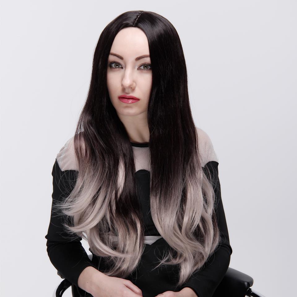 Ombre Synthetic Wig Pruiken Women Echt haar Lace Front Wigs For Black Blue hair Brown